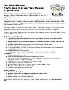Job advertisement youth dropin green team ECRC